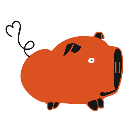 modern vector illustrattion with red fat cute pig