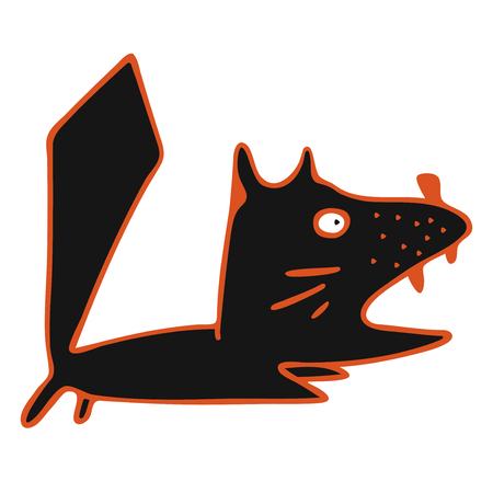 modern vector design running black cat with open mouth 矢量图像