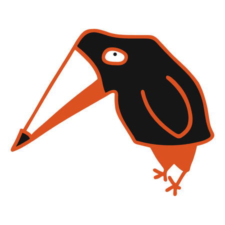 modern vector illustration with black cute crow 矢量图像