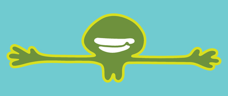 Vector illustration, green smiley man want to hug you