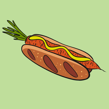 Veggie hot dog with carrot, vegetarian food