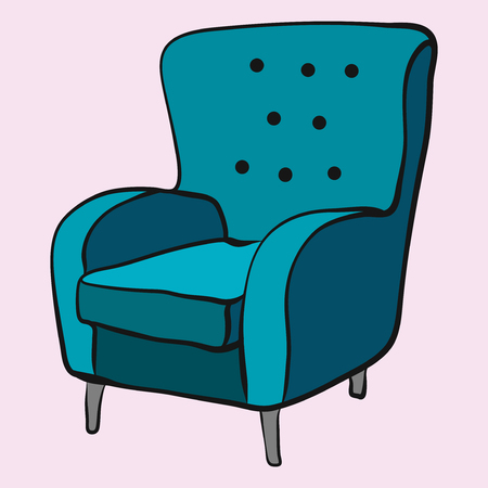 cozy emerald armchair is waiting for sitting 矢量图像