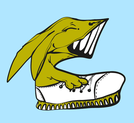 Vector illustration Profile of smiling laughing fox in a sneaker