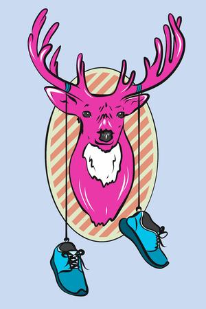 Vector Deer Head Cartoon Illustration. Pink deer with sneakers 矢量图像