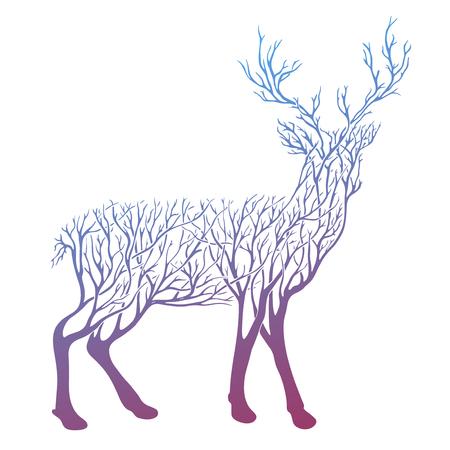 Vector Double exposure, deer for your design, wildlife concept 矢量图像
