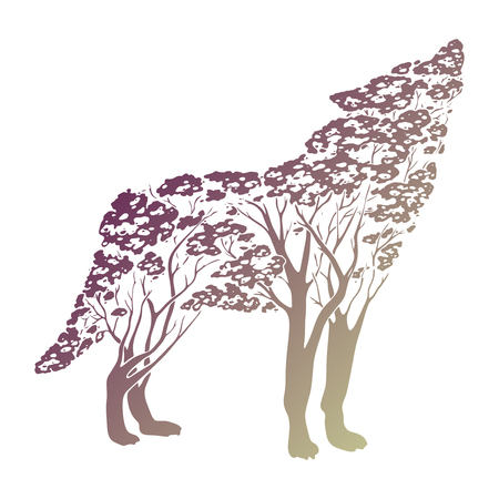Vector Double exposure, wolf for your design, wildlife concept