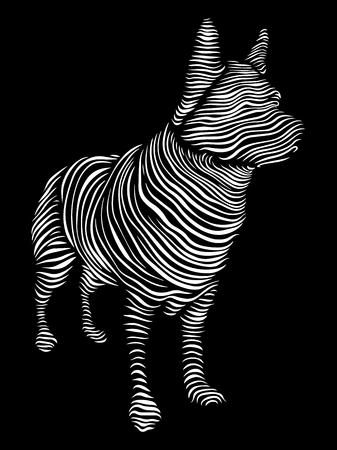 Vector illustration line art dog on a black background