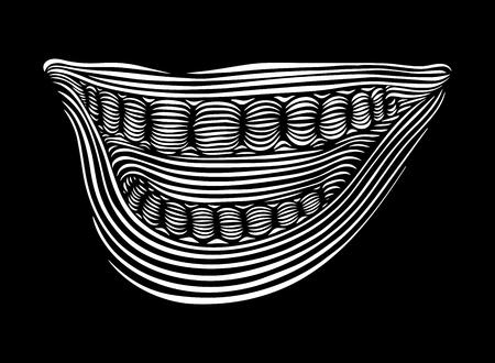 Vector illustration line art smile on a black background