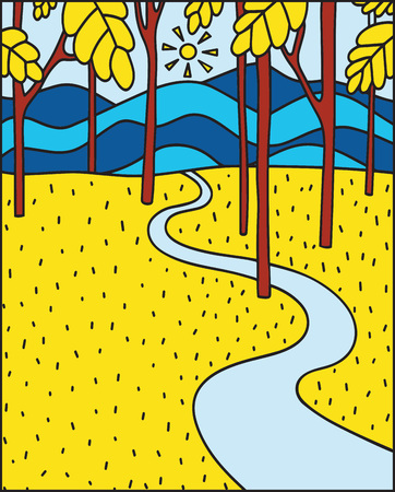 Vector illustration in flat linear style - autumn background - landscape illustration with yellow autumn forest - greeting card design template