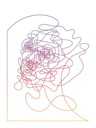 Single line portait, abstract face with corner frame, labyrinth from the face