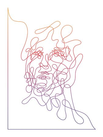 Singleline portait, abstract face with corner frame, labyrinth from the man face