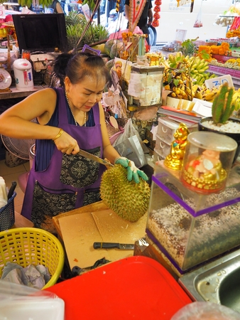 Bangkok,Thailand, on May 26, 2018, Ladprao fresh food market, People buy and selling things at fresh market, showing finanial situation in thailand deal to the ?increasing price of comsumer. and how p