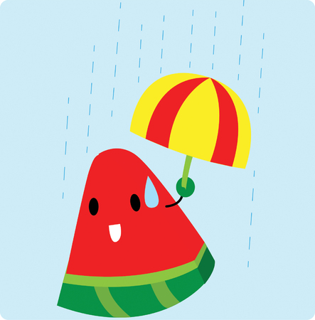 Watermelon under the rain