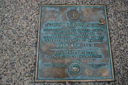 ジョン・F・ケネディはここに立ち、フィラデルフィア、ペンシルベニア州、アメリカ合衆国 写真素材