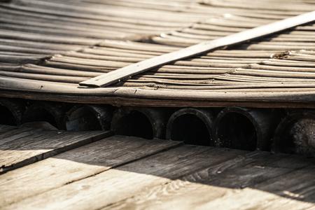 close up rustic bamboo raft wood floor