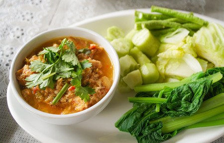thai traditional healthy delicious grilled fish chili paste with side boiled vegetables