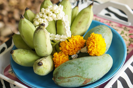 Fruits for make offerings to the spirits, worship ceremony, garland