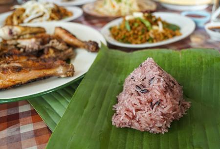 sticky rice on banana leaf thai traditional food