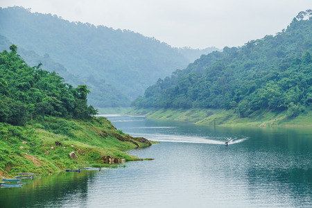 dam river green mountain view, forest, boat ride, travel thailand