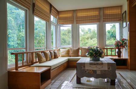 brown roman blind shade curtain tree forest mountain background living room 스톡 콘텐츠