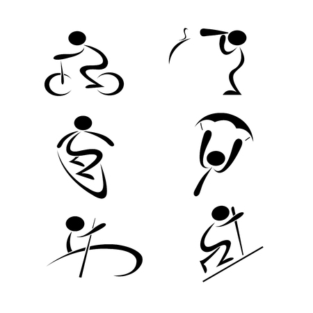 black sport activity line art icon on white isolated background, biking, bird watching, surfing, paragliding, rowing, hiking