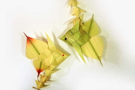 thai style palm leaf carp fish mobile handicraft