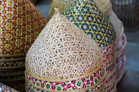 thai traditional weaving bamboo mesh food cover