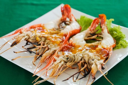delicious grilled river prawn, Thailand Фото со стока