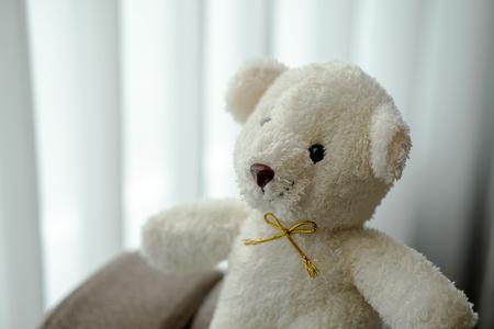 weißes Teddybär-Puppenspielzeug sitzt auf einer Sofacouch