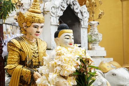 buddha image statue at Shwedagon Pagoda temple, Myanmar Stock Photo - 122759196