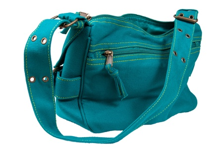 vanity: blue-green fabric women bag  isolated on white background Stock Photo