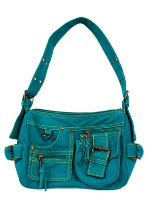 vanity bag: blue-green fabric women bag  isolated on white background Stock Photo
