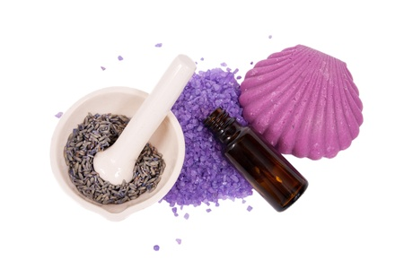 Spa background: accessories for a spa therapy, lavender, aroma oil, soap, sea salt for bath