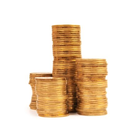 reaches: stack of coins isolated on white Stock Photo