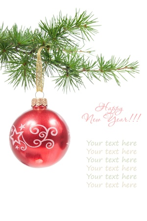 dec: Christmas ball with a pine branch isolated on white background with copyspace for your text
