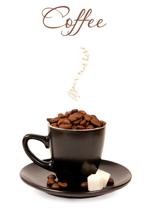 coffee in a black cup on white background with the place for your text  photo