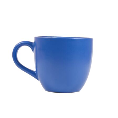 Blue cup isolated on white background
