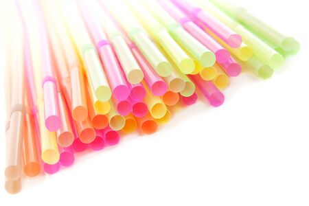 Drinking colorful  straws  on a white background