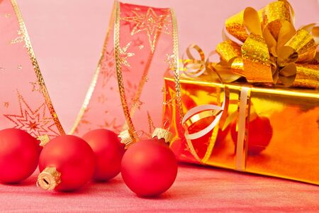 Christmas Decoration on a red  background  Stock Photo - 11553405