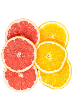 Slices of various citruses on white background Stock Photo