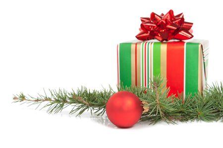bright Christmas decoration isolated on white background