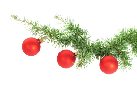 Red Christmas balls  isolated on white background photo
