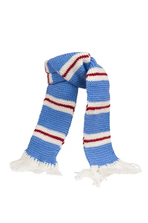 Warm knitted scarf with stripes isolated on white background