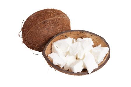 coconut oil: L'olio di cocco e cocco isolato su sfondo bianco