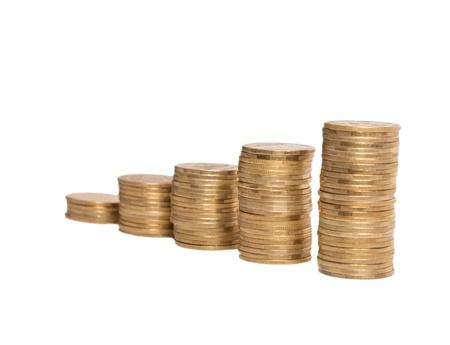 shiny coins isolated on white background Stock Photo