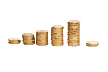 shiny coins isolated on white background Stock Photo - 12520292