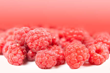 background of red raspberries close up Stock Photo
