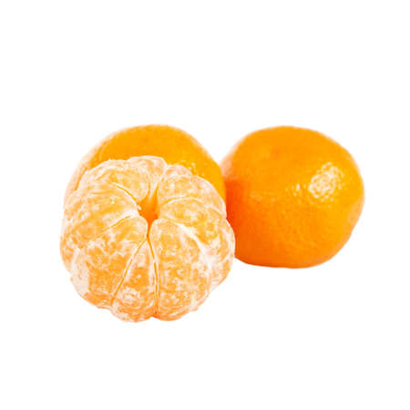 three fresh tangerines isolated on a white background