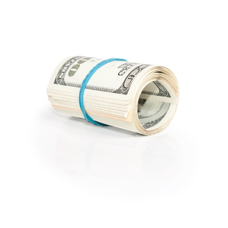 roll pack of dollars isolated on white background  Stock Photo