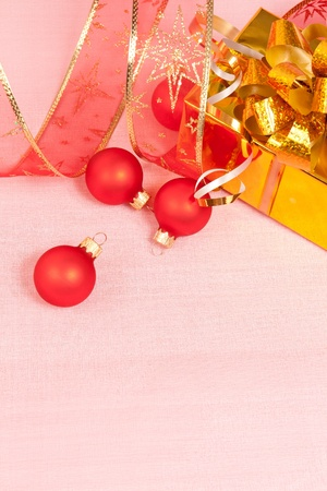 Christmas Decoration on a red background photo